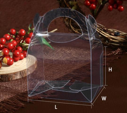 8*5.8*4.6cm Transparent PVC Handle Cake box(3 Sizes)