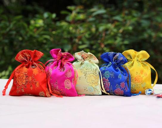 9*12cm Good Fortune Peony Flower Brocade Bag