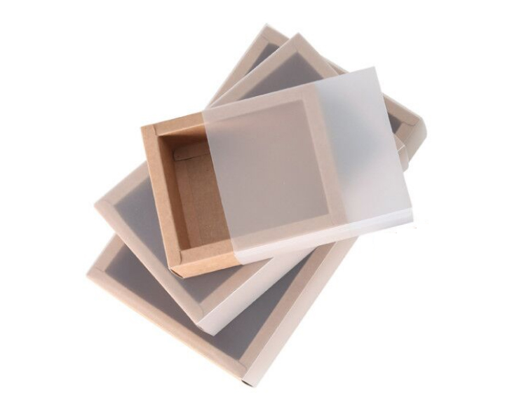 Square Size Kraft Paper Box with Transparent Cover(More 9 Sizes)