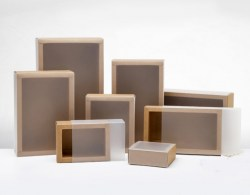 Square Size Kraft Paper Box with Transparent Cover(More 9 Sizes) Image 1